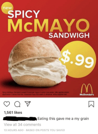 Spicy: new  SPICY  McMAYO  SANDWIGH  n mores that  nayo this woek  McDondal's  1,561 likes  Eating this gave me a my grain  View all 34 comments  13 HOURS AGO BASED ON POSTS YOU SAVED