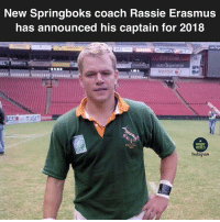 Memes, Rugby, and Coach: New Springboks coach Rassie Erasmus  has announced his captain for 2018  xerox e  RUGBY  MEMES The right man for the job 🇿🇦✊🏼😂😂 rugby springboks southafrica mattdamon