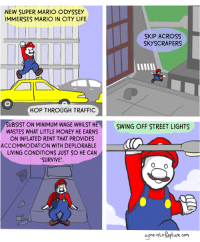 Life, Money, and Super Mario: NEW SUPER MARIO ODYSSEY  IMMERSES MARIO IN CITY LIFE  SKIP ACROss  SKYSCRAPERS  HOP THROUGH TRAFFIC  SUBSIST ON MINIMUM WAGE WHILST HE  WASTES WHAT LITTLE MONEY HE EARNS  ON INFLATED RENT THAT PROVIDES  SWING OFF STREET LIGHTS  ACCOMMODATION WITH DEPLORABLE  LIVING CONDITIONS JUST SO HE CAN  SURVIVE'  one into Kapture com Gone into Rapture