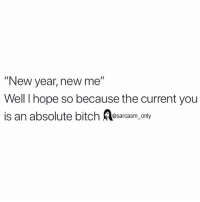 "Bitch, Funny, and Memes: ""New year, new me""  Well I hope so because the current you  is an absolute bitch Aesarcasm only SarcasmOnly"