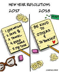 "<p><a href=""https://omg-images.tumblr.com/post/169163087582/oc-a-kinder-new-year-resolution"" class=""tumblr_blog"">omg-images</a>:</p>  <blockquote><p>[OC] A kinder New Year resolution</p></blockquote>: NEW YEAR RESOLUTIONS  2017  2018  MINT  LOSE WEIGH  2. SAVE  3, TRAVEL  OTHERS  READ  To YOURSElF  CHÉESECORNZ <p><a href=""https://omg-images.tumblr.com/post/169163087582/oc-a-kinder-new-year-resolution"" class=""tumblr_blog"">omg-images</a>:</p>  <blockquote><p>[OC] A kinder New Year resolution</p></blockquote>"