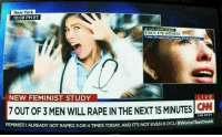 sce: New York  10:08 PM ET  AT THE CRIME SCE  STACY, EYE WITNESS  Isaw 20 rapes per second its an  NEW FEMINIST STUDY  7OUT OF 3 MEN WILL RAPE IN THENETMIUTES  7:08 PM PT  ThanDeath  FEMINIST: I ALREADY GOT RAPED 3 OR 4 TIMES TODAY. ANDITS NOT EVEN 8 OCLi