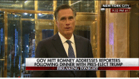 It's hard eating crow! Heck it could be called eating turkey buzzard. One thing is for sure Trump not only crushed all the opposition! He made Scum bag Romney eat pelican, city pigeon, cormorant, sewer rat, and alley cat too! $RJ$: NEW YORK CITY  9:33 PM ET  GOV MITT ROMNEY ADDRESSES REPORTERS  FOLLOWING DINNER WITH PRES-ELECT TRUMP  BREAKING TONIGHT It's hard eating crow! Heck it could be called eating turkey buzzard. One thing is for sure Trump not only crushed all the opposition! He made Scum bag Romney eat pelican, city pigeon, cormorant, sewer rat, and alley cat too! $RJ$