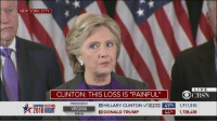 """hillary clinton meme: NEW YORK CITY  LIVE  CLINTON: THIS LOSS IS """"PAINFUL""""  OCR  PRESIDENT  D HILLARY CLINTON  CBS NEWS  49% 1,911,510  CAMPAIGN ELECTION  VIRGINIA  1,728,438  44%  R DONALD TRUMP  96%IN"""