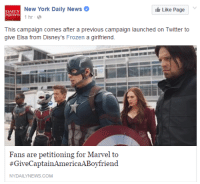 Because nobody's allowed to be heterosexual in 2016: New York Daily News O  Like Page  DAILY  NEWS  1 hr  This campaign comes after a previous campaign launched on Twitter to  give Elsa from Disney's Frozen a girlfriend.  Fans are petitioning for Marvel to  #Give Captain America ABoyfriend  NYDAILYNEWS.COM Because nobody's allowed to be heterosexual in 2016