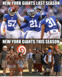 """""""There's something wrong with our team this year, but I can't quite put my finger on it"""" - Jason Pierre Paul: NEW YORK GIANTS LAST SEASON  @NFL MEMES  NEW YORK GIANTS THIS SEASON """"There's something wrong with our team this year, but I can't quite put my finger on it"""" - Jason Pierre Paul"""