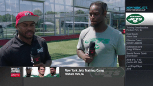"""I wanna keep leveling up and getting better.""  @nyjets RB @LeVeonBell has big goals for his first season with his new squad. (via @NFLNetwork) https://t.co/KErd9qLG1w: NEW YORK JETS  2019 TRAINING CAMP  NEW YORK  JETS  Training Camp Location:  Florham Park, NJ  Head Coach:  Adam Gase  TS  Offensive Coord:  Dowell Loggains  Defensive Coord:  Gregg Williams  Special Teams Coord:  Brant Boyer  2018 W-L: 4-12  (last in AFC East)  Last Playoff App:  2010  W YORK  INSIDE  TRAINING  CAMPLIVE  New York Jets Training Camp  Florham Park, NJ  TS  AState Farm ""I wanna keep leveling up and getting better.""  @nyjets RB @LeVeonBell has big goals for his first season with his new squad. (via @NFLNetwork) https://t.co/KErd9qLG1w"