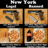 """Merica: New York  Legal  Banned  1911 with 7 round  1911 with """"High capacity""""  magazine  8 round magazine  Delivery Pizza With 12 Delivery Pizza with """"High  capacity"""" 2 liter soda  ounce soda Merica"""