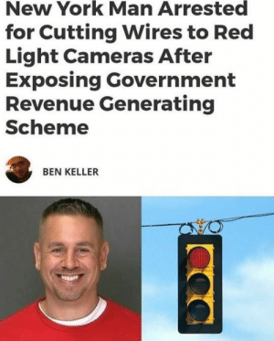 That cheeky grin, though.: New York Man Arrested  for Cutting Wires to Red  Light Cameras After  Exposing Government  Revenue Generating  Scheme  BEN KELLER That cheeky grin, though.