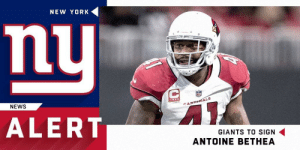 Memes, New York, and News: NEW YORK  ni  NEWS  CARDINALS  ALERT  GIANTS TO SIGN  ANTOINE BETHEA The @Giants are signing safety @ABethea41 to a two-year deal.  (via @ReggieWayne_17) https://t.co/s5cmRjl45f
