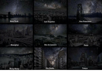 These images show us what we would see at night without light pollution.: New York  Shanghai  Hong Kong  Los Angeles  Rio de Janeiro  Sao Paulo  San Francisco  Paris  Tokyo These images show us what we would see at night without light pollution.