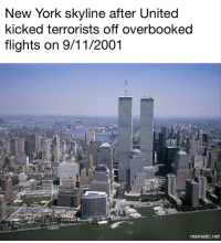 """9/11, Memes, and New York: New York skyline after United  kicked terrorists off overbooked  flights on 9/11/2001  mematic.net <p>Alternate 9/11 via /r/memes <a href=""""http://ift.tt/2p2EXRW"""">http://ift.tt/2p2EXRW</a></p>"""