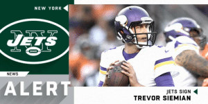Memes, New York, and News: NEW YORK  UES  NEWS  ALERT  JETS SIGN  TREVOR SIEMIAN .@nyjets signing QB Trevor Siemian to one-year deal. https://t.co/sPz2SQipek