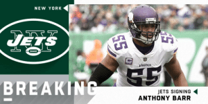 BREAKING: @nyjets expected to sign former Vikings LB @AnthonyBarr. (via @RapSheet) https://t.co/WXofSQmBYc: NEW YORK  UES  Vikings  BREAKIN  JETS SIGNING  ANTHONY BARR BREAKING: @nyjets expected to sign former Vikings LB @AnthonyBarr. (via @RapSheet) https://t.co/WXofSQmBYc
