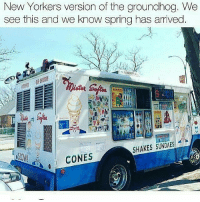 Memes, Spring, and 🤖: New Yorkers version of the groundhog., We  see this and we know spring has arrived  SHAKES SUNDAES  CONES
