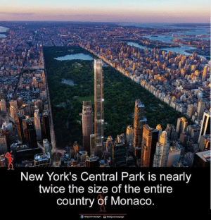 Monaco: New York's Central Park is nearly  twice the size of the entire  country of Monaco.