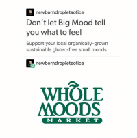I have so!!! Much work to do today: newborndropletsofice  Don't let Big Mood tell  you what to feel  Support your local organically-grown  sustainable gluten-free small moods  newborndropletsofi  ce  WHOLE  MOODS  M A R K E T I have so!!! Much work to do today