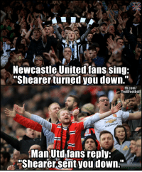 "Memes, fb.com, and Old: Newcastle Unitedfans sing:  Shearer turned you down.""  Fb.com/  TrollFootball  Man Utdlfans renly;  Shearer sent you down."" Epic banter from Old Trafford tonight https://t.co/5HqHpKrdlQ"
