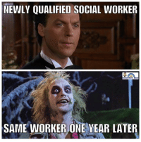 same: NEWLY QUALIFIED SOCIAL WORKER  SAME WORKER ONE YEAR LATER