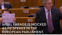 Memes, Nigel Farage, and 🤖: News  122  HE'S  LYING  80  o you  NIGEL FARAGE IS MOCKED  AS HE SPEAKS IN THE  EUROPEAN PARLIAMENT. Watch: Nigel Farage speaks with a sign from a Labour MEP in the background (via Channel 4 News).