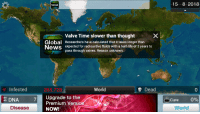 Valve Time: News  15 8 2018  Global  News  Valve Time slower than thought  Researchers have calculated that it takes longer than  expected for radioactive fluids with a half-life of 3 years to  pass through valves. Reason unknown.  Infected  265,728  World  Dead  0  DNA 7 Upgrade to the  0%  Cure  Premium Versio  Disease  NOW!Y  World