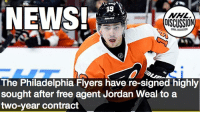 Memes, News, and National Hockey League (NHL): NEWS!  19  NHL  DISCUSSION  The Philadelphia Flyers have re-signed highly  sought after free agent Jordan Weal to a  two-year contract Jordan Weal is staying in Philly! Weal will be paid $1.75 Million Anually! Weal Flyers NHLDiscussion