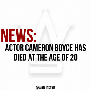"According to reports, actor #CameronBoyce, known for his role on Disney's ""Jessie"" and the film ""Grown Ups"" has died at the age of 20 from a seizure in his sleep due to a medical condition. Our thoughts and prayers go out to his family and friends. 🙏 https://t.co/1I1FICxiWu: NEWS:  ACTOR CAMERON BOYCE HAS  DIED AT THE AGE OF 20  @WORLDSTAR According to reports, actor #CameronBoyce, known for his role on Disney's ""Jessie"" and the film ""Grown Ups"" has died at the age of 20 from a seizure in his sleep due to a medical condition. Our thoughts and prayers go out to his family and friends. 🙏 https://t.co/1I1FICxiWu"