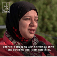 """""""I'm hopeful Donald J. Trump will be welcomed by our Muslim community.""""  The founder of the Republican Muslim Coalition, Saba Ahmed, says she is """"looking beyond"""" Donald Trump's past language about Islam and believes he has toned down his anti-Muslim rhetoric.: News  and we're engaging with his campaign to  tone down his anti-Islamic policies. """"I'm hopeful Donald J. Trump will be welcomed by our Muslim community.""""  The founder of the Republican Muslim Coalition, Saba Ahmed, says she is """"looking beyond"""" Donald Trump's past language about Islam and believes he has toned down his anti-Muslim rhetoric."""