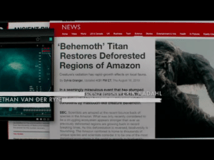 Notice while watching Godzilla.: NEWS  ANOIENT DI  &A  Health Pire  Tach  US & Carad  Busness  Scence  y Che  V World  UK  Home  'Behemoth' Titan  Restores Deforested  Regions of Amazon  Creature's radiation has rapid-growth offects on local fauna.  Bly Syvia Granger, Updated 4.51 PM ET. Thu August 16,2019  In a seemingly miraculous event that has stumped DAHL  SOUNDejaniorkth  ETHAN VAN DER RYN mastoaon-like creature benemoun  Conan  BBC. Scientists are amazed at the recent bounce back of  species in the Amaron. What was only recently considered to  be a struggling ecosystem appears stronger than ever as  previously deforested regions are growing back in record  breaking times. As this deforestation is reversed, biodiversity ia  fourishing The Amazon rainfarest is home to thousands of  unique specie and scientists consider it to be one of the most  important ncosuntema in the ac  tittiti Notice while watching Godzilla.