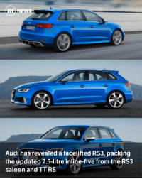 "Memes, 🤖, and Arch: NEWS  Audi ha  revealed a facelifted RS3, packing  the updated 2.5-litre inline-five fromthe RS3  Saloon and TT RS Via @carthrottlenews - Audi's stonkingly fast RS3 quietly went out of production part way through last year, but now it's back with a (slightly) new face and a new heart. - The 'heart' in question is the overhauled 2.5-litre, turbocharged inline-five first seen in the TT RS and the incoming RS3 saloon, putting out 395bhp and 354lb ft - an increase of 33bhp and 11lb ft when compared to the old car. - It's a lighter engine, shedding 33kg over the old unit thanks to an aluminium crankcase, among other things. There's a new dual injection system too, plus a valvelift feature ""for moderate fuel consumption at low and partial load as well as more spontaneous throttle response and a high level of tractive power at full load."" Lovely. - With its newfound power, the four-wheel drive RS3 Sportback will hit 62mph from rest in just 4.1 seconds - 0.1sec quicker than a Mercedes-AMG A45 and bang on the time of the RS3 saloon. The top speed mirrors the saloon too: it's the usual 155mph electronic limiter, which can be bumped up to 174mph should you tick the right option box. - Compared to a boggo A3 Sportback the suspension is 25mm lower, with the track by 20mm at the front and the wheel arches flared to suit. The brake discs are 370mm whoppers at the front with eight piston callipers, with 310mm rotors squeezed by monoblock callipers at the rear. If you want posh carbon ceramics rotors, those are optional. - On the inside, you might notice the presence of Audi's virtual cockpit system, which found its way into the rest of the A3 range last year. You might also notice the automatic gear selector: sorry guys, like the last RS3, it's powered by a seven-speed 'S Tronic' dual-clutch transmission only. - The car will make its public debut at the Geneva Motor Show next month."