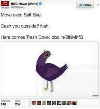 Bae, Dank, and Dove: NEWS BBC News (World  BBC  Follow  WORLD @BBC World  Move over, Salt Bae.  Cash you ousside? Nah  Here comes Trash Dove: bloc in/2INMhfG  RETWEETS LIKES  148  252 Sell fucking everything. Pack it up. We're finished.