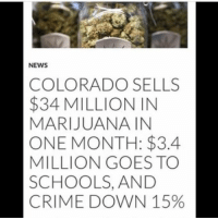 """Crime, News, and Colorado: NEWS  COLORADO SELLS  $34 MILLION IN  MARIJUANA IN  ONE MONTH: $3.4  MILLION GOES TO  SCHOOLS, AND  CRIME DOWN 15% """"Marijuana should be illegal"""" https://t.co/CiF4t70J2l"""