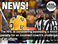 Memes, News, and National Hockey League (NHL): NEWS!  DISCUSSION  LLE  21113  The NHL is considering assessing a minor  penalty for an incorrect coach's challenge  of an offside Not the right way to approach this problem... 🤔🤔🤔🤔🤔 CoachesChallenge Fisher Predators Offside NHLDiscussion