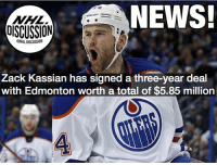 Just under $2 millions bucks a season for Kassian... is this overpay for a third line grinder? Oilers NHLDiscussion: NEWS  DISCUSSION  Zack Kassian has signed a three-year deal  with Edmonton worth a total of $5.85 million  4 Just under $2 millions bucks a season for Kassian... is this overpay for a third line grinder? Oilers NHLDiscussion