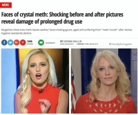 """memesdaily memes: NEWS  Faces of crystal meth: Shocking before and after pictures  reveal damage of prolonged drug use  Mugshots show how meth leaves addicts' faces looking gaunt, aged and suffering from """"meth mouth"""" after dental  hygiene standards decline  1008  BY GEMMA MULLIN  COMMENTS  estockphotogasm  SHARES  09:39, 28 JAN 2016  UPDATED 10:08, 28 JAN 2016 memesdaily memes"""