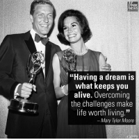 """MaryTylerMoore achieved breakthrough status by being one of the very first unmarried, career-woman leading characters – in her 30s, living and working on her own. To most of her television fans, she was always """"Mary."""" 1936 – 2017: NEWS  """"Having a dream is  what keeps you  alive. Overcoming  the challenges make  life worth living.""""  Mary Tyler Moore  AP mages MaryTylerMoore achieved breakthrough status by being one of the very first unmarried, career-woman leading characters – in her 30s, living and working on her own. To most of her television fans, she was always """"Mary."""" 1936 – 2017"""