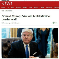 HE'S ACTUALLY DOING IT. THE ABSOLUTE MADMAN!: NEWS  Home UK World  Business  Politics  Tech  Science  Health  Education  Entertain  US & Canada  Donald Trump: 'We will build Mexico  border wall  Share  7 minutes ago US & Canada HE'S ACTUALLY DOING IT. THE ABSOLUTE MADMAN!