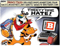 Memes, Misogynistic, and Antisemitism: News ITem: KeLLOGGS DROps ADveRTiSiNG FROM  RACIST, MiSOGYNiST, ANTiSeMiTic weBSiTe BREITBART.COM  THEEYYRRE  HATE! Steve Sack, Star Tribune