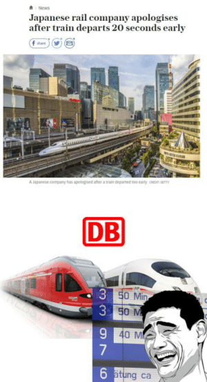Deutsche Bahn :-): News  Japanese rail company apologises  after train departs 20 seconds early  f share)  5  A apanese company has apologised after a train departed too early CREDIT GETT  DB  AP  0 Min  40 M  6  ätung ca Deutsche Bahn :-)