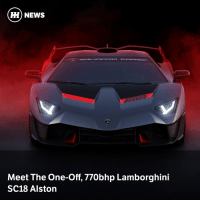 Cars, News, and Lamborghini: ) NEWS  Meet The One-Off, 770bhp Lamborghini  SC18 Alston Lamborghini's Squadra Corse racing team has created a bespoke - yet road-legal - Aventador-based racer, with 770bhp and a carbon fibre body
