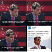 "lol: News  News  l delight in offending people. I think that  the idea that hurt feelings are some kind  the greivance brigade, victimhood,  of special currency.  The Hill  @thehill  News  Yiannopoulos says he wants an apology  after Berkeley mayor calls him a ""white  nationalist  hill.cm/eW6xlw6  I think that needs to come to an end.  And America agrees  2/217, 9:37 PM lol"