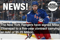Memes, New York, and News: NEWS!  NHL  DISCUSSION  NHL DISCUSSION  91  The New York Rangers have signed Mika  Zibanejad to a five-year contract carrying  an AAV of $5.25 Million Mika is getting paid like a first-line center, but will he be able to perform like one? Zibanejad NewYork Rangers nhldiscussion