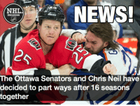 Chris Neil will be looking for a new vacancy, as the Senators let him know there is no spot on their roster for him Neil Senators Ottawa NHLDiscussion: NEWS!  NHL  DISCUSSION  The Ottawa Senators and Chris Neil have  decided to part ways after 16 seasons  together Chris Neil will be looking for a new vacancy, as the Senators let him know there is no spot on their roster for him Neil Senators Ottawa NHLDiscussion