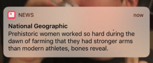 "Bones, Crying, and Love: NEWS  now  National Geographic  Prehistoric women worked so hard during the  dawn of farming that they had stronger arms  than modern athletes, bones reveal. ancient-soul:  cupofcoffin: me, visibly crying tears of joy and love: holy shit  now every man who makes a show set in some historic or fantasy-historic time period now has to have incredibly jacked actresses, for ""historical realism"""