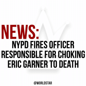 The #NYPD have reportedly fired #DanielPantaleo, the officer responsible for the chokehold which led to the death of #EricGarner in July 2014. Comment your thoughts below. 🌎⭐️🗞 https://t.co/pFwHK4f4Bi: NEWS:  NYPD FIRES OFFICER  RESPONSIBLE FOR CHOKING  ERIC GARNER TO DEATH  @WORLDSTAR The #NYPD have reportedly fired #DanielPantaleo, the officer responsible for the chokehold which led to the death of #EricGarner in July 2014. Comment your thoughts below. 🌎⭐️🗞 https://t.co/pFwHK4f4Bi