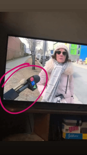 News outlet in Canada is taping their microphones to hockey sticks to maintain social distance.: News outlet in Canada is taping their microphones to hockey sticks to maintain social distance.