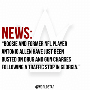 """News, Nfl, and Traffic: NEWS:P  """"BOOSIE AND FORMER NFL PLAYER  ANTONIO ALLEN HAVE JUST BEEN  BUSTED ON DRUG AND GUN CHARGES  FOLLOWING A TRAFFIC STOP IN GEORGIA.""""  @WORLDSTAR According to TMZ, Boosie and Former NFL player Antonio Allen have been arrested on drug and gun charges. 😳 https://t.co/fElgTcNk8a"""