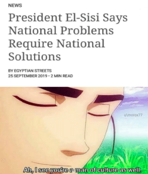 He is indeed.: NEWS  President El-Sisi Says  National Problems  Require National  Solutions  BY EGYPTIAN STREETS  25 SEPTEMBER 2019 2 MIN READ  u\morox77  Ah, Iseeyoutre a man of culture as well He is indeed.