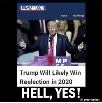 Future, Memes, and News: News Rankings  M P  Trump Will Likely Win  Reelection in 2020  HELL, YES!  americafirst Trump2020 Seeing CLEAR to our American Future 👀