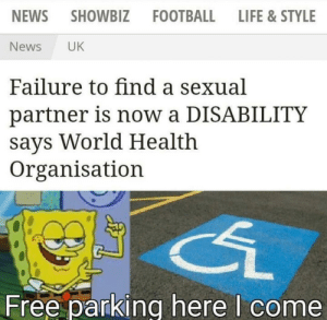 Finally its useful: NEWS  SHOWBIZ  FOOTBALL  LIFE &STYLE  News  UK  Failure to find a sexual  partner is now a DISABILITY  says World Health  Organisation  Free parking here I come Finally its useful